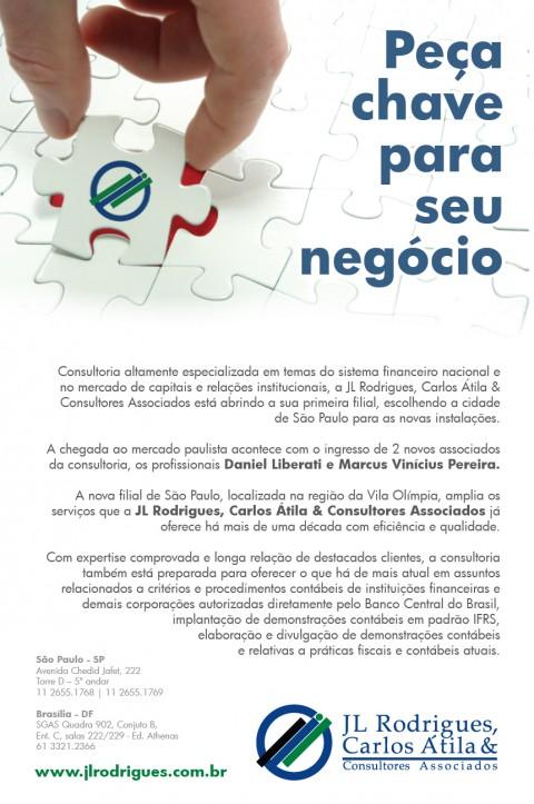 Anúncio da JL Rodrigues, Carlos Átila & Consultores Associados no Valor Econômico, criação da 24×7 Comunicação