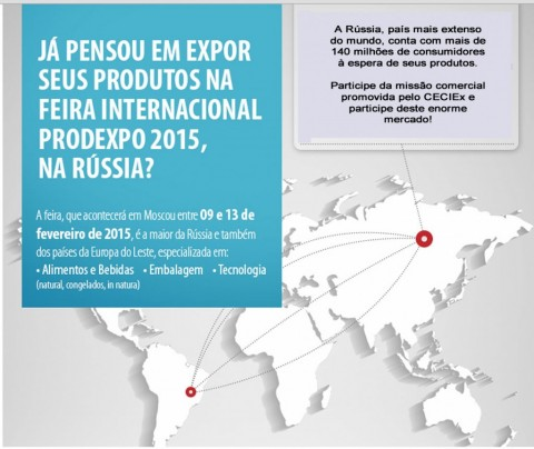 CECIEx promove missão comercial para feira de alimentos Prodexpo, na Rússia